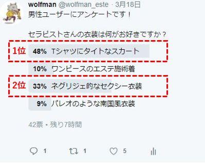 ユーザーさんの衣装の好みのTwitterのアンケート結果